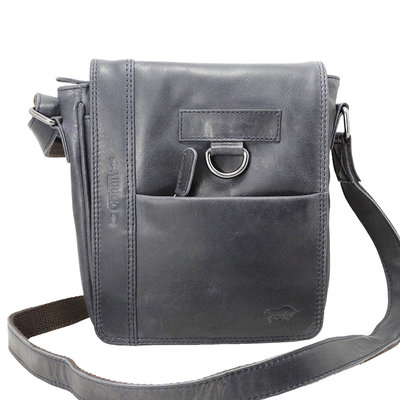 Dark blue cowhide leather shoulder bag with flap