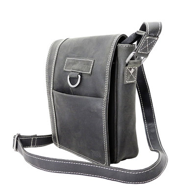 Black shoulder bag made of buffalo leather with flap