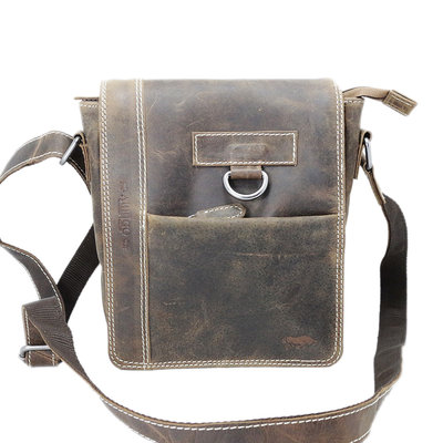 Cognac shoulder bag made of buffalo leather with flap