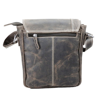 Dark brown shoulder bag made of buffalo leather with flap