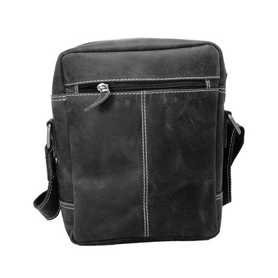 Trendy shoulder bag made of black buffalo leather
