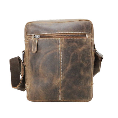 Trendy shoulder bag made of cognac buffalo leather