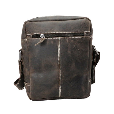 Trendy shoulder bag made of dark brown buffalo leather