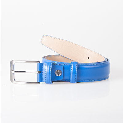 Blue Belt Made Of Genuine Leather With A Stylish Buckle