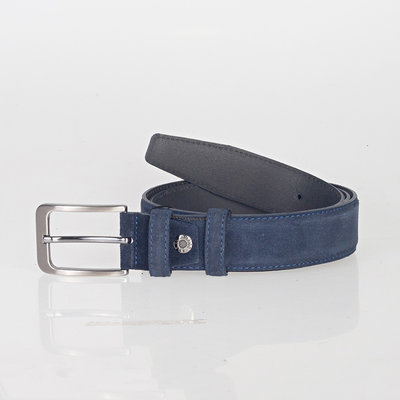 Italian dark blue suede leather belt with stylish little silver colored buckle