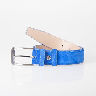Italian blue suede leather belt with stylish little silver colored buckle