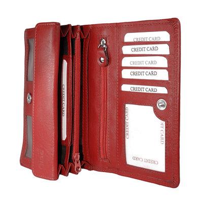 Ferrari rood leren harmonica RFID portemonnee, groot model