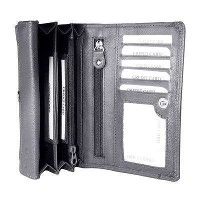 Grijs leren harmonica RFID portemonnee, groot model