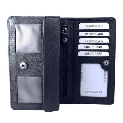 Donkerblauw leren harmonica RFID portemonnee, groot model