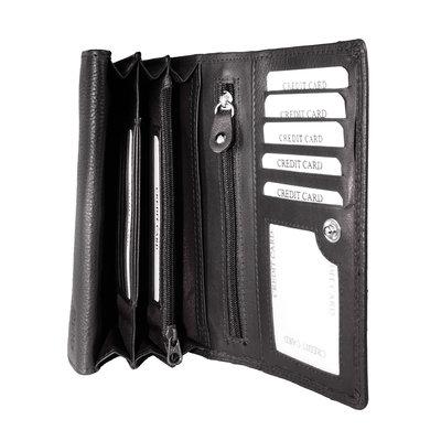 Donkerbruin leren harmonica RFID portemonnee, groot model