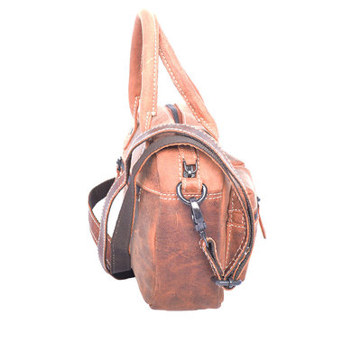 Western bag made of sturdy buffalo leather in the cognac color