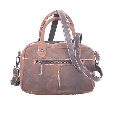 Westernbag Of Leather In The Color Brown, Compact Model