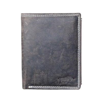 Billfold men's wallet made of dark brown buffalo leather
