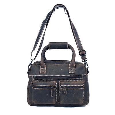 Western bag made of sturdy buffalo leather in the dark brown color