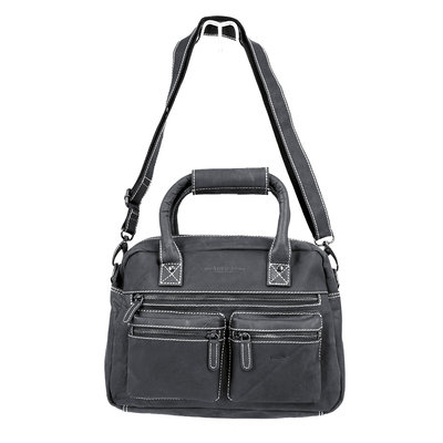 Western bag made of sturdy buffalo leather in the black color
