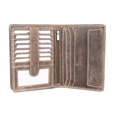 Large wallet for him or her of natural dark brown buffalo leather
