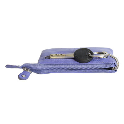 Key pouch made of purple cowhide with 2 compartments with zipper and 1 key ring