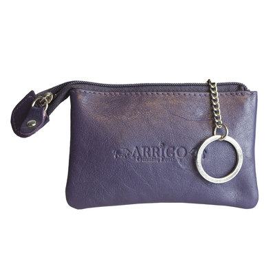 Key pouch made of dark purple cowhide with 2 compartments with zipper and 1 key ring
