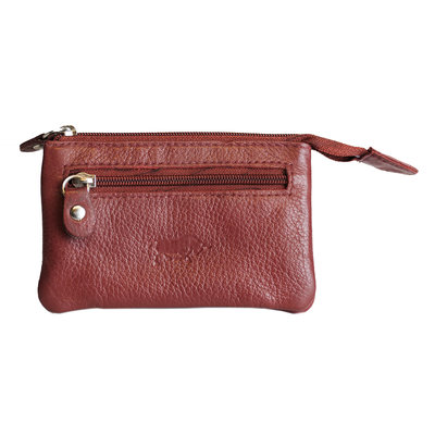 Key pouch made of dark red cowhide with 2 compartments with zipper and 1 key ring