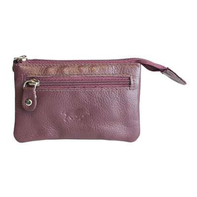 Key pouch made of burgundy red cowhide with 2 compartments with zipper and 1 key ring