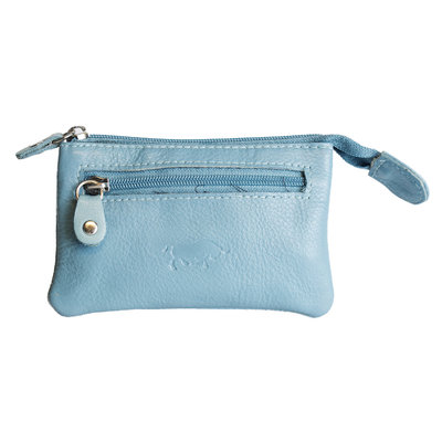 Key pouch made of light blue cowhide with 2 compartments with zipper and 1 key ring