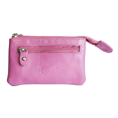 Key pouch made of pink cowhide with 2 compartments with zipper and 1 key ring