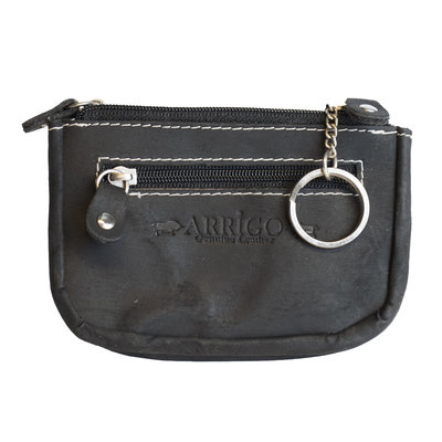 Key pouch made of black buffalo leather with 3 compartments with zipper and 2 key rings