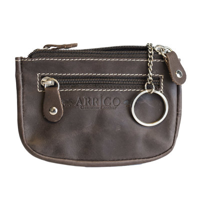 Key pouch made of dark brown buffalo leather with 3 compartments with zipper and 2 key rings