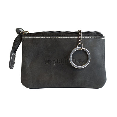Key pouch made of black buffalo leather with 2 compartments with zipper and 1 key ring