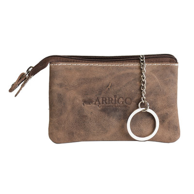 Key pouch made of cognac buffalo leather with 2 compartments with zipper and 1 key ring