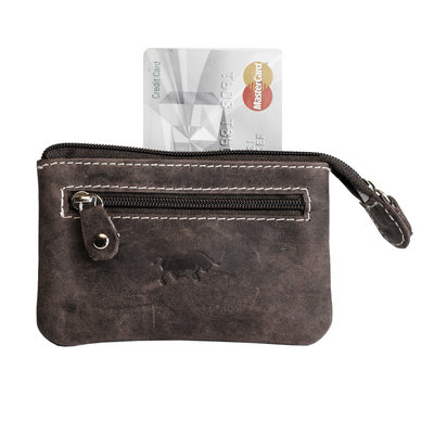Key pouch made of dark brown buffalo leather with 2 compartments with zipper and 1 key ring