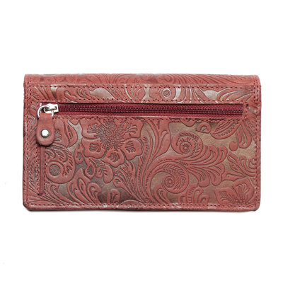 Large ladies wallet of red leather with floral print