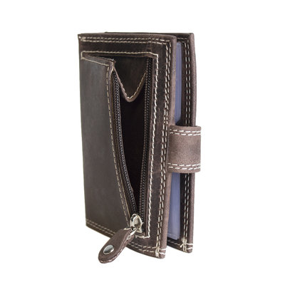 Anti-skim card holder made of buffalo leather in the color dark brown