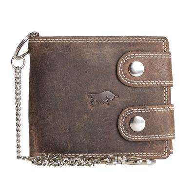 Wallet with chain for men in cognac buffalo leather