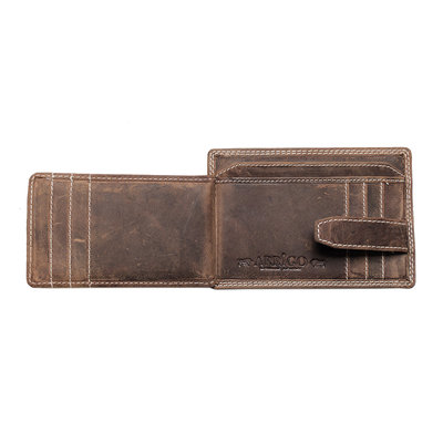 Card holder made of cognac / natural buffalo leather