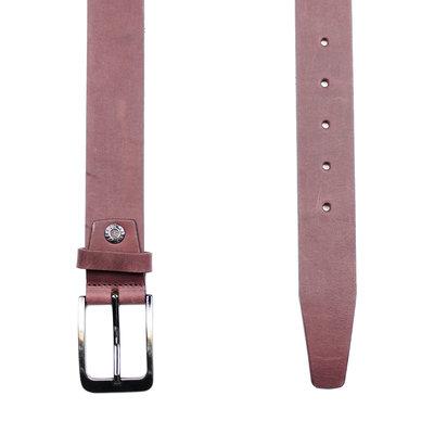 Dark Red Leather Belt - 3.5 cm Wide For Ladies Or Men