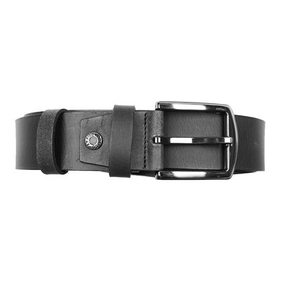 Black Leather Belt - 4 cm Wide With Silver Buckle