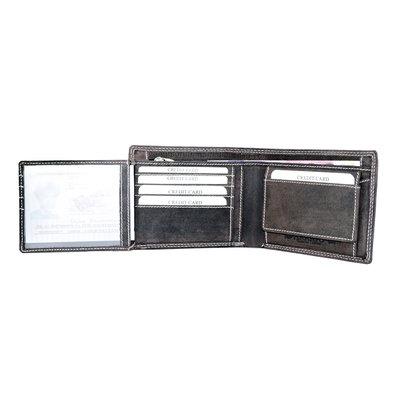 Billfold heren portemonnee gemaakt van donkerbruin buffelleer