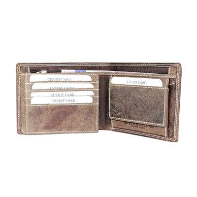 Billfold heren portemonnee gemaakt van cognac buffelleer