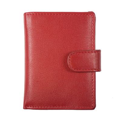 Pasjeshouder met cardprotector gemaakt van rood rundleer