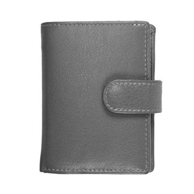 Pasjeshouder met cardprotector gemaakt van grijs rundleer