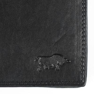 Anti skim portemonnee met groot ritsvak van zwart rundleer