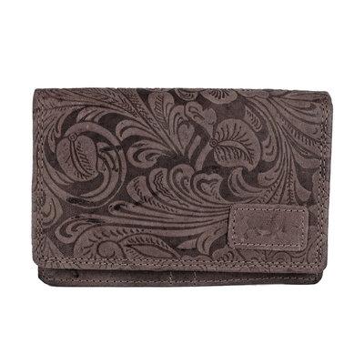 Anti skim portemonnee met bloemenprint van cognac kleurig leer