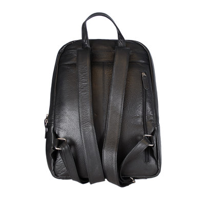 Laptop Backpack Made Of Smooth Black Leather