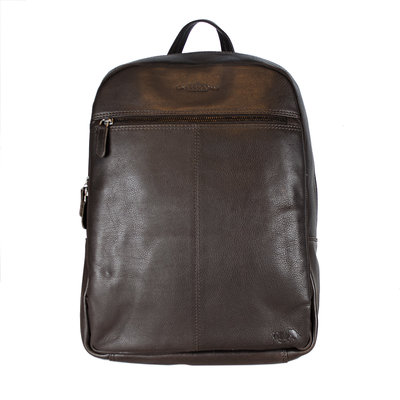 Laptop Backpack in Smooth Black Cowhide Leather