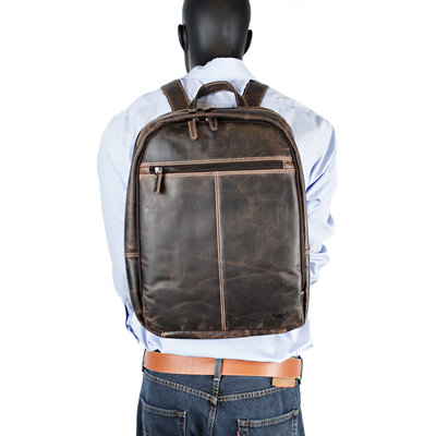 Laptop Backpack Made Of Dark Brown Leather