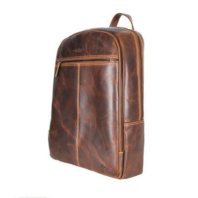 Laptop Backpack Made Of Waxed Cognac Colored Leather