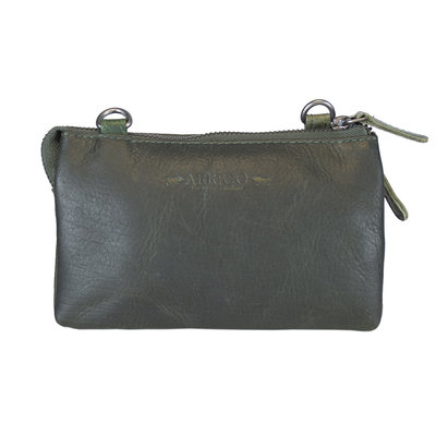 Leather Bag Or Festival Bag Made Of Green Leather