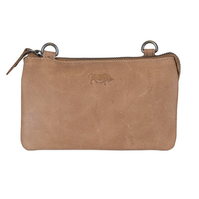 Leather Bag Or Festival Bag Made Of Taupe Leather