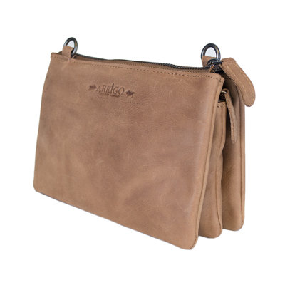Leather crossbody purse bag in the color taupe - XL